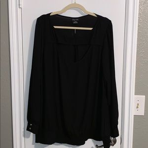 City chic black keyhole tunic